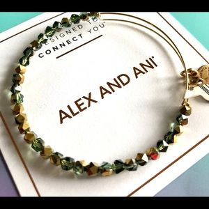 ALEX AND ANI Forest Green Beaded Bangle Bracelet